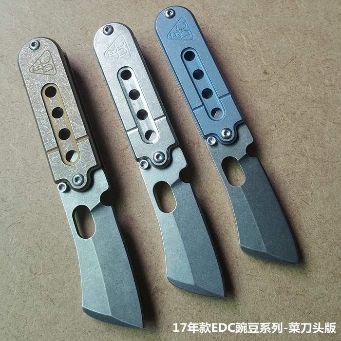 天生玩家菜刀头款和复古刃款美国S35VN 钛合金柄 口袋刀 狗牌刀 serge豌豆 EDC升级四孔柄刀具