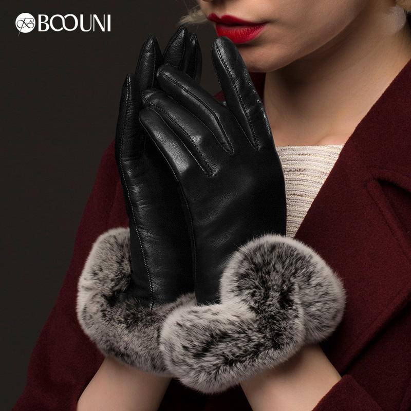 柏欧尼女款毛绒触屏手套 冬季保暖